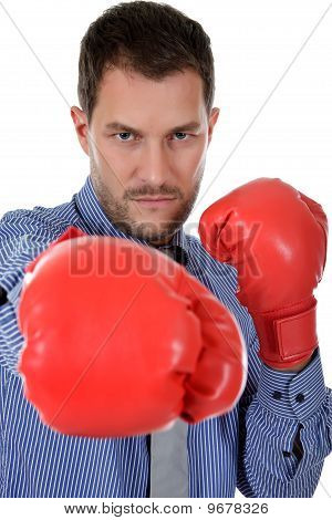 Attractive Young Caucasian Businessman, Boxing Gloves