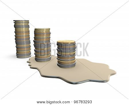 Melting Money Coins Financial Crisis Concept Illustration Isolated