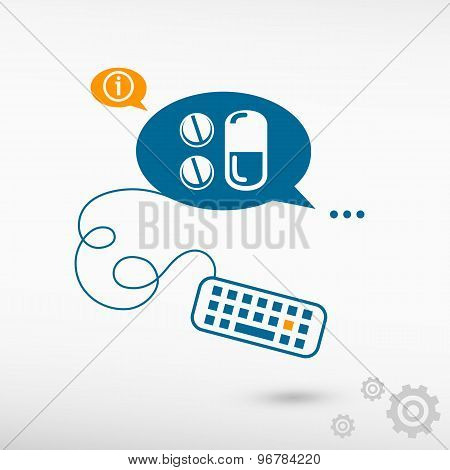 Pill Icon And Keyboard On Chat Speech Bubbles