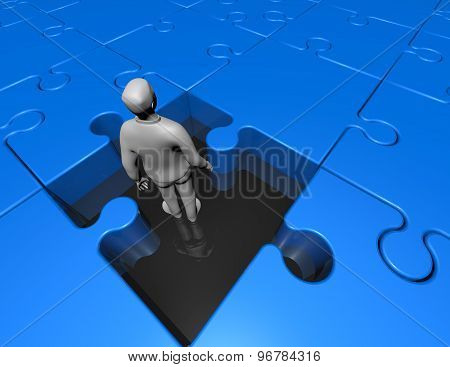 Confusion Concept With 3D Man Inside Jigsaw Puzzles Game