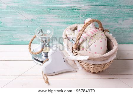 Decorative Heart, Candle, Bucket  On Wooden Background