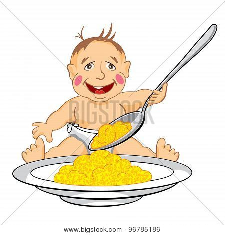 smiling baby which eats with a spoon porridge from dish