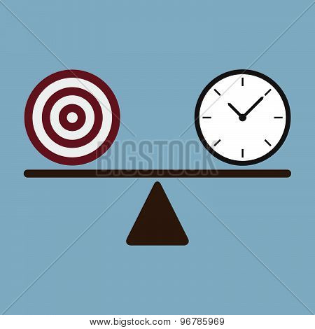 Target And Time Clock On Scale