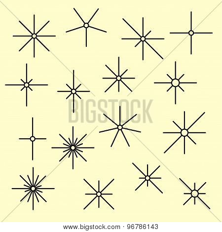 Line Sparkling Symbols Black Color On A Light Yellow Background