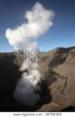 Smoking crater of Mount Bromo (2,329 m) in East Java, Indonesia.