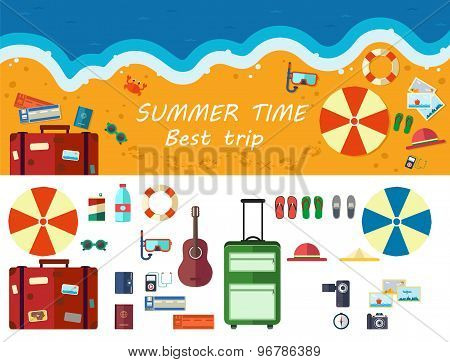Summer Time Traveling, Beach Rest, Template With Beach Summer Accessories