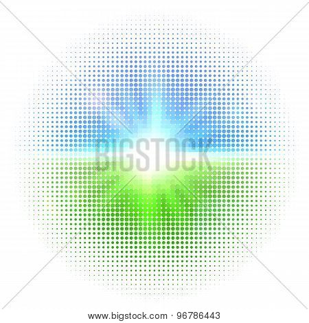 Vector halftone mosaic with sun flares and bokeh