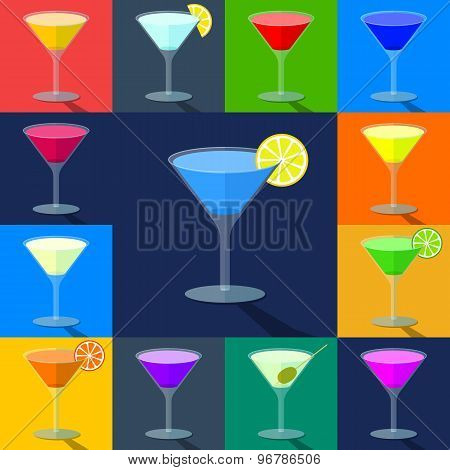 Set of flat colored cocktails in transparent glasses