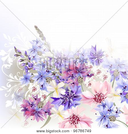 Background  Blue, Pink And Purple Cornflowers