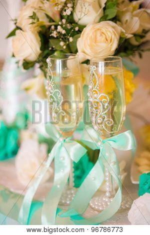 Wedding decor, flowers and champagne