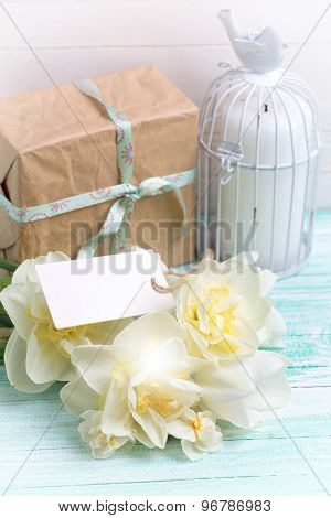 Postcard With  Flowers And Gift Box