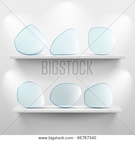 Shelves with glass app icons on white background