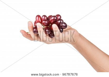 Hand holding a bunch of crimson red grapes