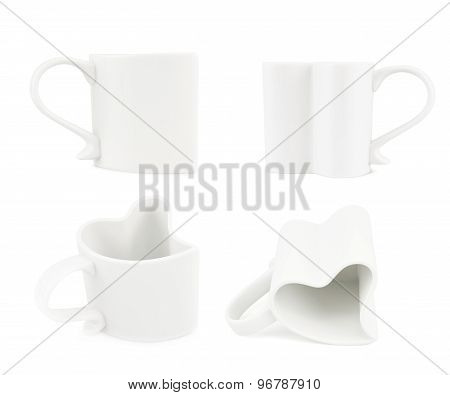 White heart shaped cup