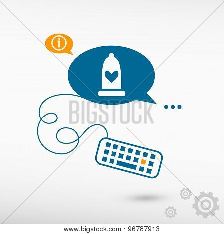 Condom  Icon And Keyboard On Chat Speech Bubbles