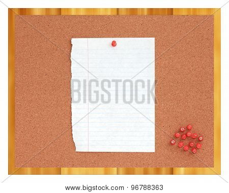 Cork board with paper and red pins