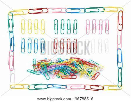 Set of multiple colorful paper clips