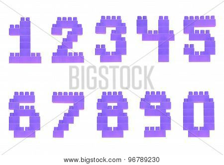 Set of numbers made of toy bricks