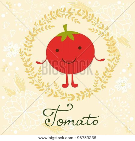 Cute tomato character illustration on a floral background with soft colors