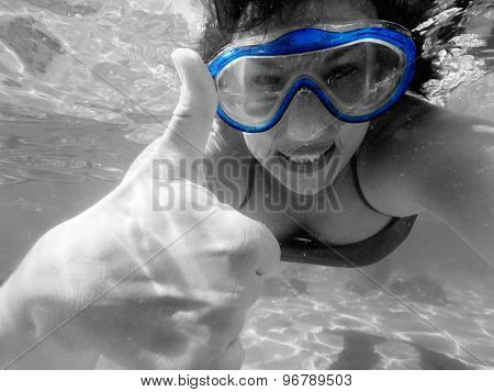 Woman With Mask Underwater