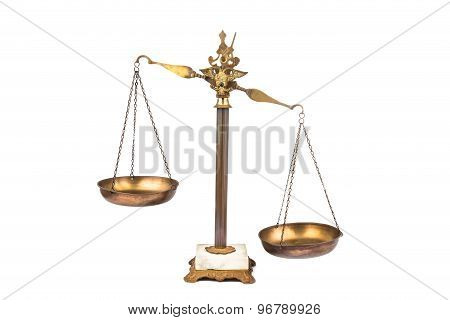 Unbalanced brass scale, lop-sided to the right. No justice.