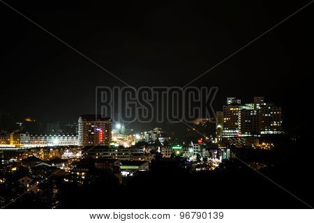 Series of the view of Brinchang town, Cameron Highlands. Nights with commercial activities.