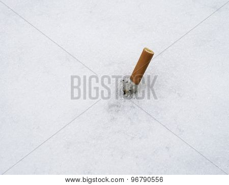 cigarette in snow
