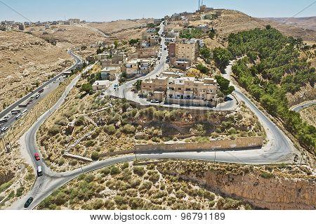 View to the city of Karak from Al Karak hill in Karak, Jordan.