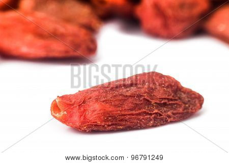 Close up and selective focus on the dried Wolfberry or Goji at the foreground