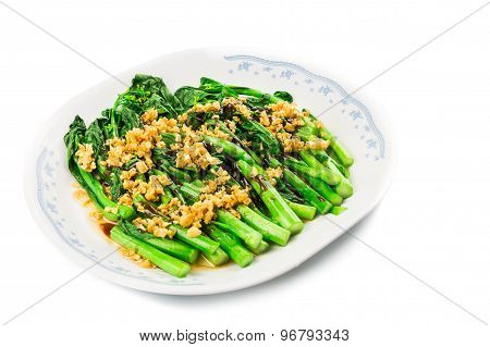 Blanched Chinese Choy Sum vegetable with garlic oil cuisine