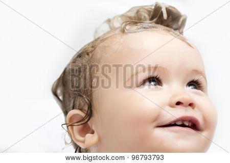 Portrait Of Male Kid In Bath
