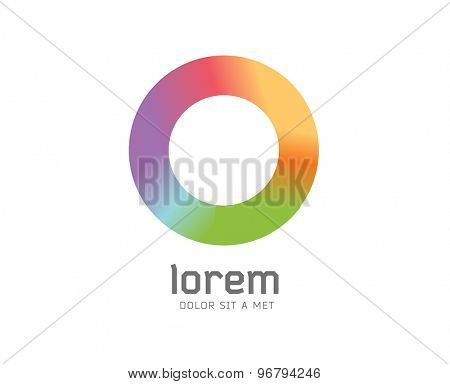 Abstract colored O vector icon. Isolated on white background. Circle, colored, shape, globe, abstract, web, flow, minimal, modern. Company logo. Identity and branding design