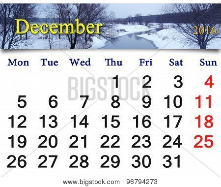 calendar for December 2016 with winter river