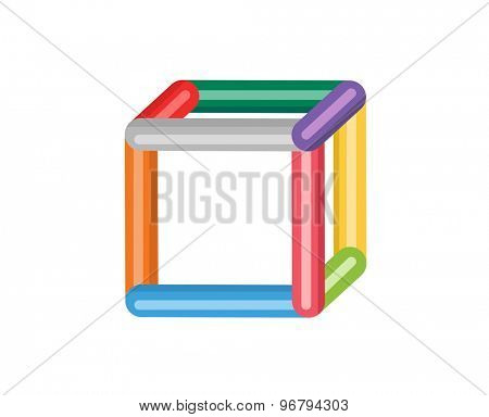 Abstract colored 3d box vector icon. Isolated on white background. Circle, colored, shape, globe, abstract, web, flow, minimal, modern. Company logo. Identity and branding design