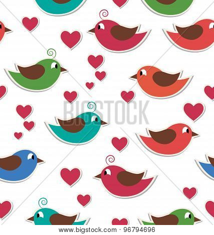 Seamless Pattern With Cute Birds And Hearts Isolated On White