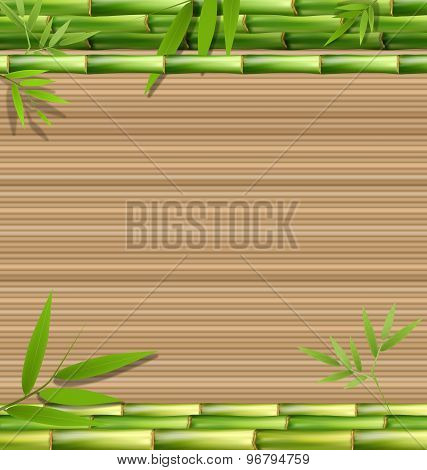 Green Bamboo Grass On Brown