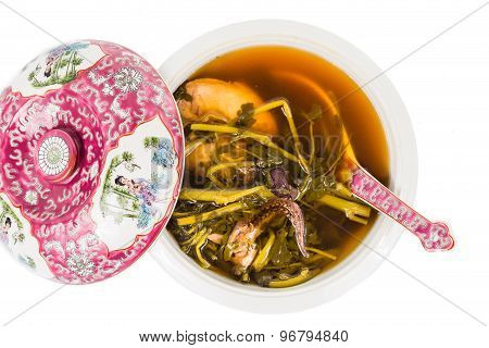 Casserole of refreshing Chinese watercress soup isolated in white
