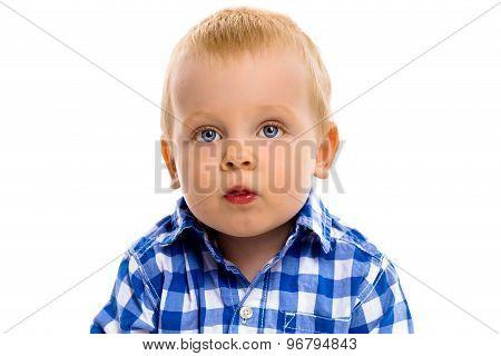Blue-eyed Boy In A Plaid Shirt