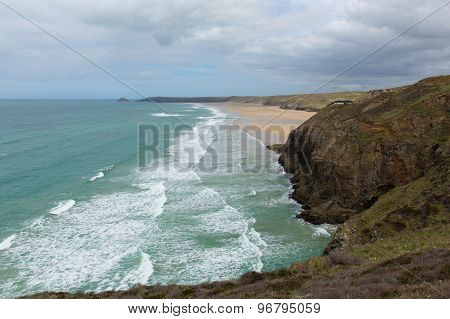 Droskyn Point and Perranporth coast North Cornwall England UK