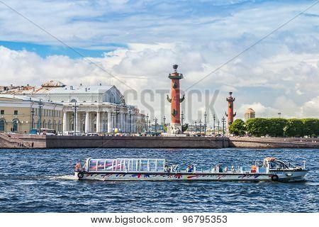 View Of St. Petersburg. Vasilyevsky Island In Summer Day. Russia