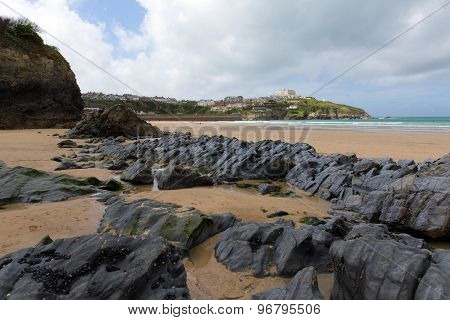 Newquay beach North Cornwall UK with rocks
