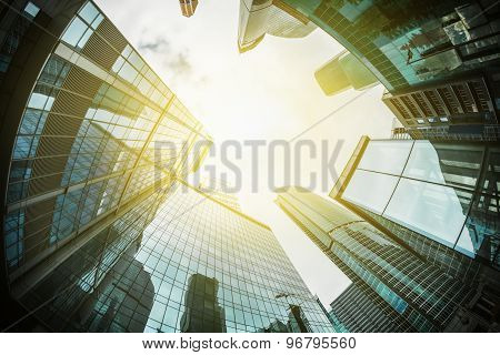 Futuristic Landscape Of Silhouettes Of Skyscrapers