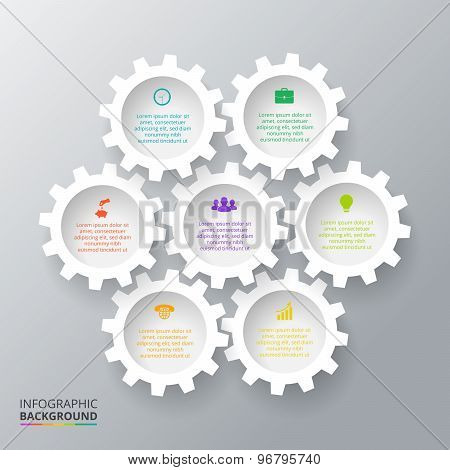 Vector gears for infographic.
