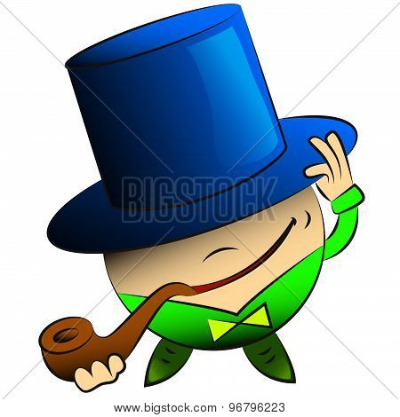 Vector Cartoon Round Man In A Hat And A Pipe