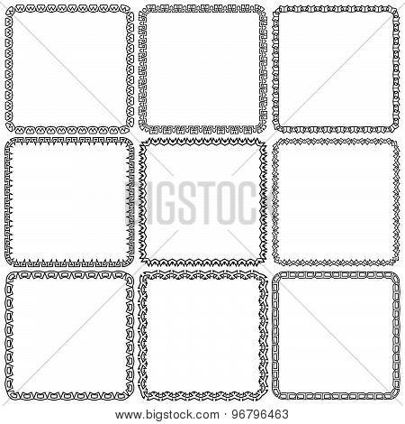 Vector Set. Nine Square Ornamental Frames. Black On A White
