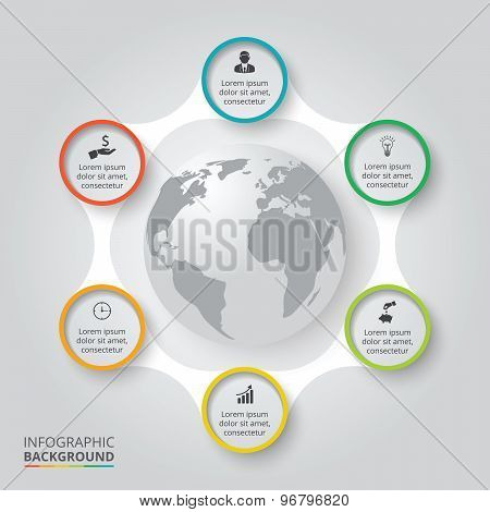 Vector circle elements with earth for infographic.