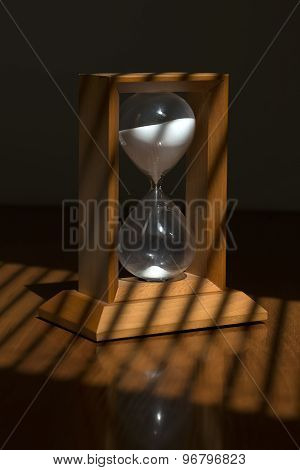 Wooden Sand Glass On Table
