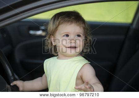 Small Funny Driver In Car