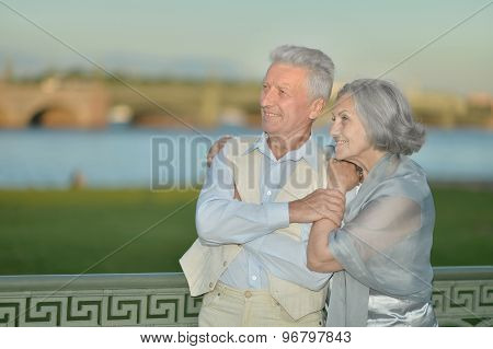 Happy mature couple looking at town