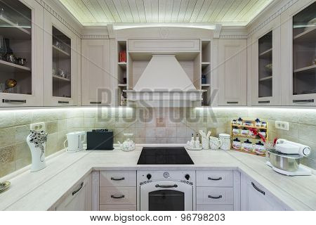 Interior Of A Modern Luxury Bright White Kitchen
